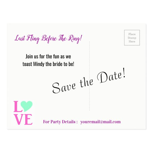 Last Fling Before The Ring Save The Date Postcards