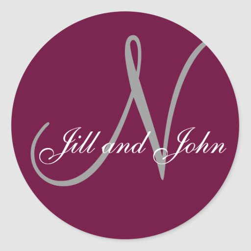 """Last Name Initial """"N"""" plus First Names Wine/Grey Round Sticker"""