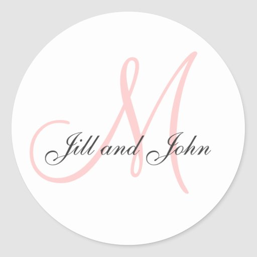 Last Name Initial plus First Names Pink Sticker