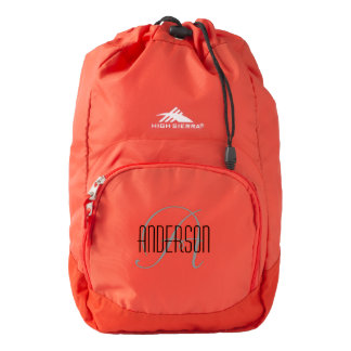 Last Name with Monogram Back Pack