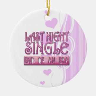 last night single bachelorette wedding party funny christmas ornaments