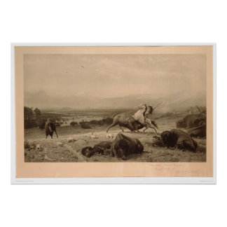 Last of the Buffalo Bierstadt (0137A) - Unrestored Poster