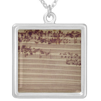 Last page of The Art of Fugue, 1740s Square Pendant Necklace
