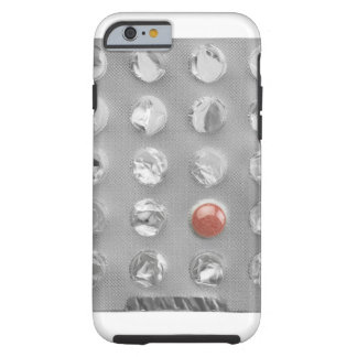 Last pill in blister pack, photographed on white tough iPhone 6 case
