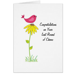 Last Round of Chemo Congratulations Card Bird