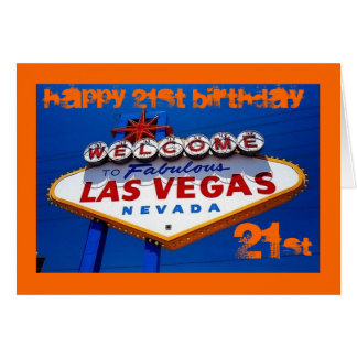 LasVegas_Sign, HAPPY 21ST BIRTHDAY, HAPPY 21ST ... Greeting Card