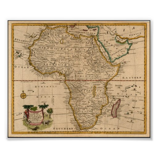 late 19th century Africa Map Print