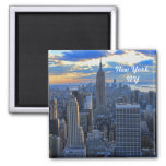 Late afternoon NYC Skyline as sunset approaches #2 Square Magnet