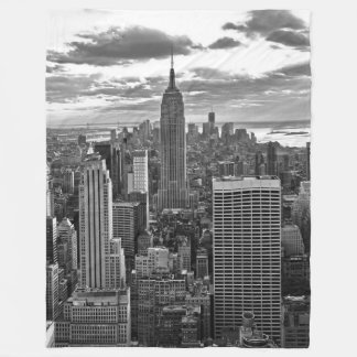 Late afternoon NYC Skyline as sunset approaches BW Fleece Blanket