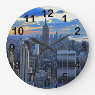 Late afternoon NYC Skyline as sunset approaches Clock