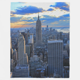 Late afternoon NYC Skyline as sunset approaches Fleece Blanket