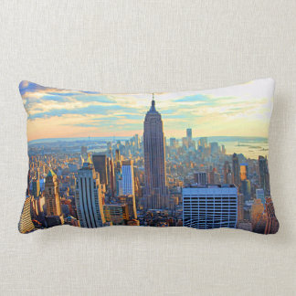 Late afternoon NYC Skyline as sunset approaches Lumbar Cushion