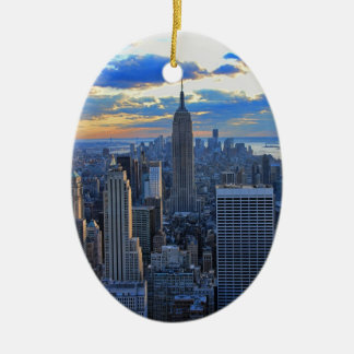 Late afternoon NYC Skyline as sunset approaches O Ceramic Oval Decoration