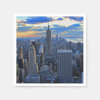 Late afternoon NYC Skyline as sunset approaches Paper Napkin
