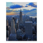 Late afternoon NYC Skyline as sunset approaches Poster