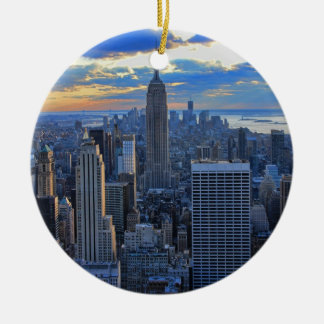 Late afternoon NYC Skyline as sunset approaches Round Ceramic Decoration