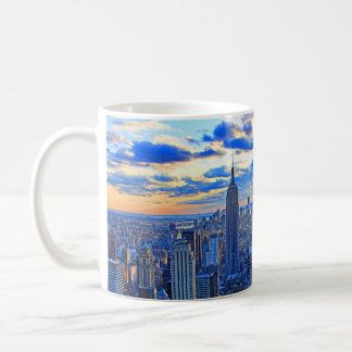 Late afternoon NYC Skyline as sunset approaches W Basic White Mug