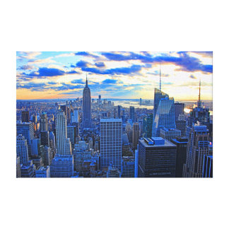 Late afternoon NYC Skyline as sunset approaches W Gallery Wrapped Canvas