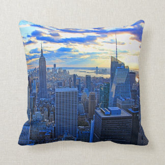 Late afternoon NYC Skyline as sunset approaches W Throw Pillow