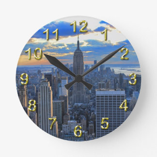 Late afternoon NYC Skyline as sunset approaches Wallclock