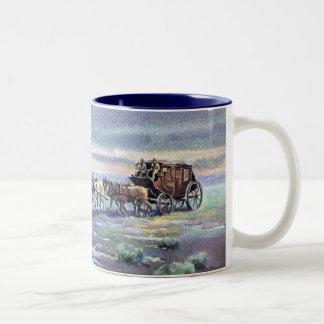 LATE AFTERNOON STAGECOACH by SHARON SHARPE Two-Tone Coffee Mug