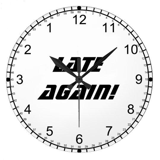 Late Again!-Backwards Clock/Black and White Wallclocks
