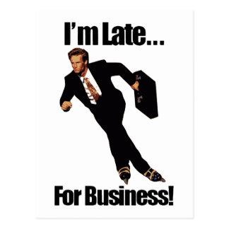 Late For Business Rollerblade Skater Meme Postcard