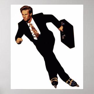 Late For Business Rollerblade Skater Meme Poster