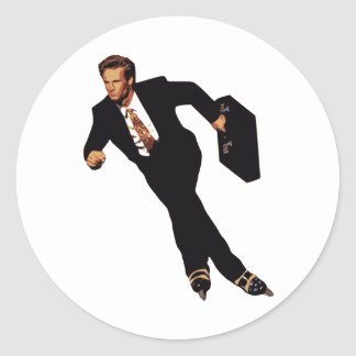 Late For Business Rollerblade Skater Meme Round Sticker