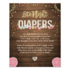 Late Night Diapers Rustic wood baby shower Floral Poster