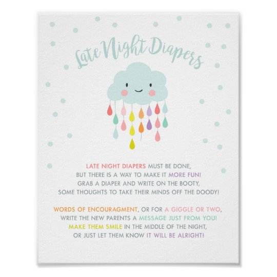 Late Night Diapers sign Cloud Raindrops Rainbow