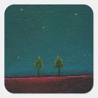 Late Night Meeting dark starry sky nature tree art Stickers