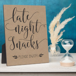 Late Night Snacks Favor Sign Plaque