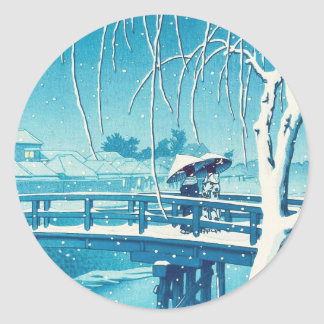 Late Snow Along Edo River hasui kawase winter art Classic Round Sticker