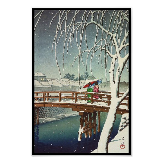 Late Snow Along Edo River Hasui Kawase winter
