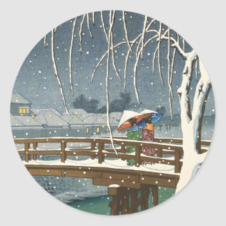 Late Snow Along Edo River hasui kawase winter art Round Sticker