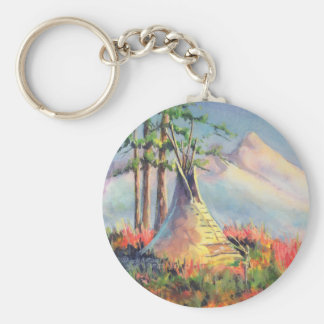 LATE SUMMER TIPIS by SHARON SHARPE Basic Round Button Key Ring