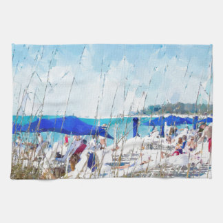 Late Winter Early Spring on Lido Beach Tea Towel