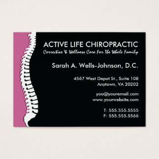 Lateral Spine (Pink) Oversized Chiropractor Business Card