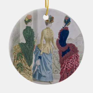 Latest Paris Fashions, three day dresses in a fash Round Ceramic Decoration