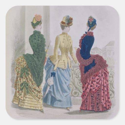 Latest Paris Fashions, three day dresses in a fash Sticker
