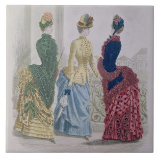 Latest Paris Fashions, three day dresses in a fash Tile