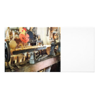 Lathe in Wood Shop Photo Greeting Card