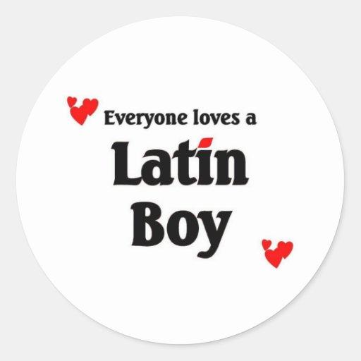 Latin Boy Round Stickers