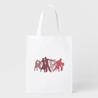 Latin Dancers Illustration Reusable Grocery Bag