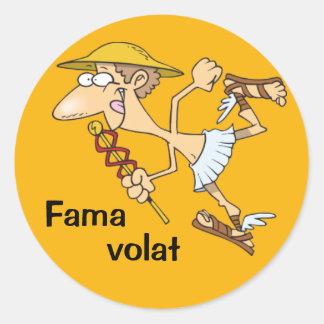 Latin: Fama volat Round Sticker
