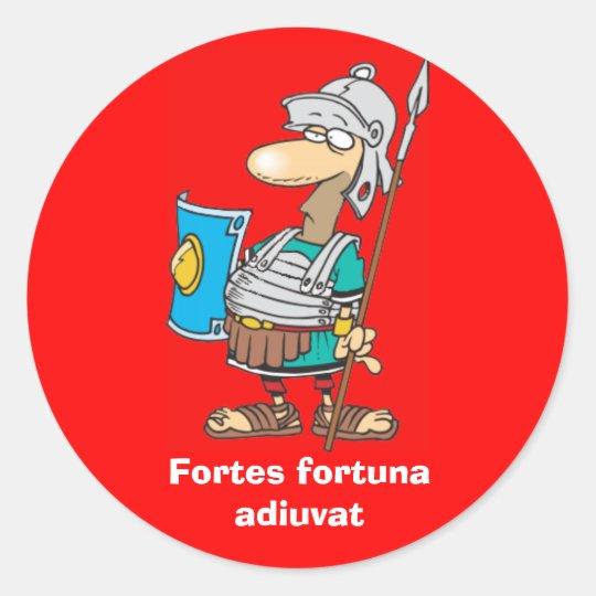Latin: Fortes fortuna adiuvat Classic Round Sticker