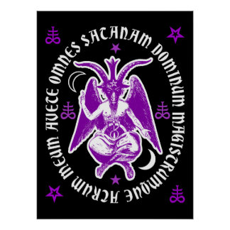 "Latin ""Hail Satan"" Occult Baphomet Poster [Purple]"