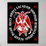 "Latin ""Hail Satan"" Occult Baphomet Poster [Red]"