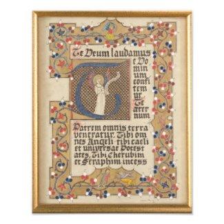 Latin Hymn Medieval style Illuminated Calligraphy